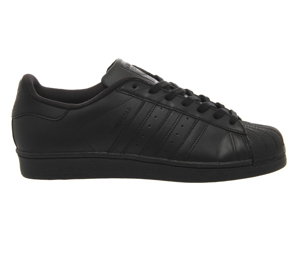 the best attitude 474f4 28aba Adidas Originals Mens Superstar 2 All Black Stripe Leather Retro Trainers