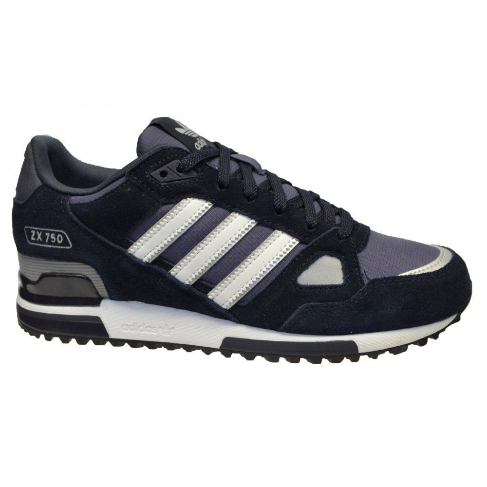 ddff5e53 Adidas Originals Mens Navy ZX 750 Sude Leather and Mesh Running Trainers (1)
