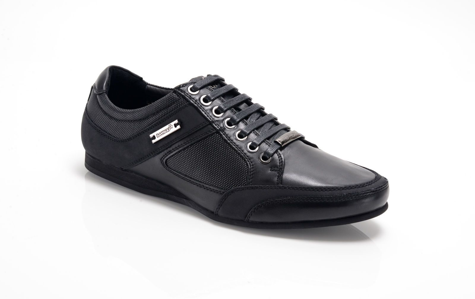 245381ca837c Bambooa Phoenix Black Leather Mens Designer Casual Shoes Trainers