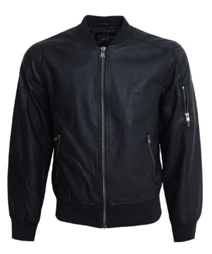 Crosshatch Designer Biker Bomber jacket Black Soft Leather