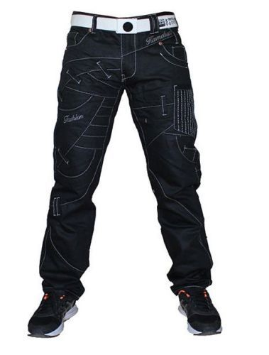 Kosmo Lupo Jeans Black Designer Overlay Detail Detailed Tapered Fit Km130